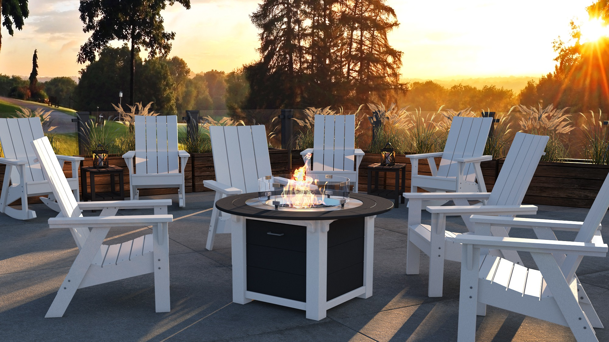 Summit Chat Chairs with Round Fire Table