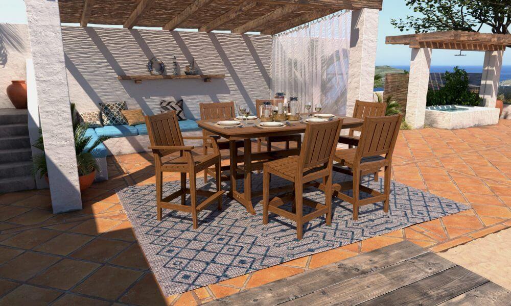 Napa Bar Table with Milano Dining Chairs (Mahogany Natural Grain)