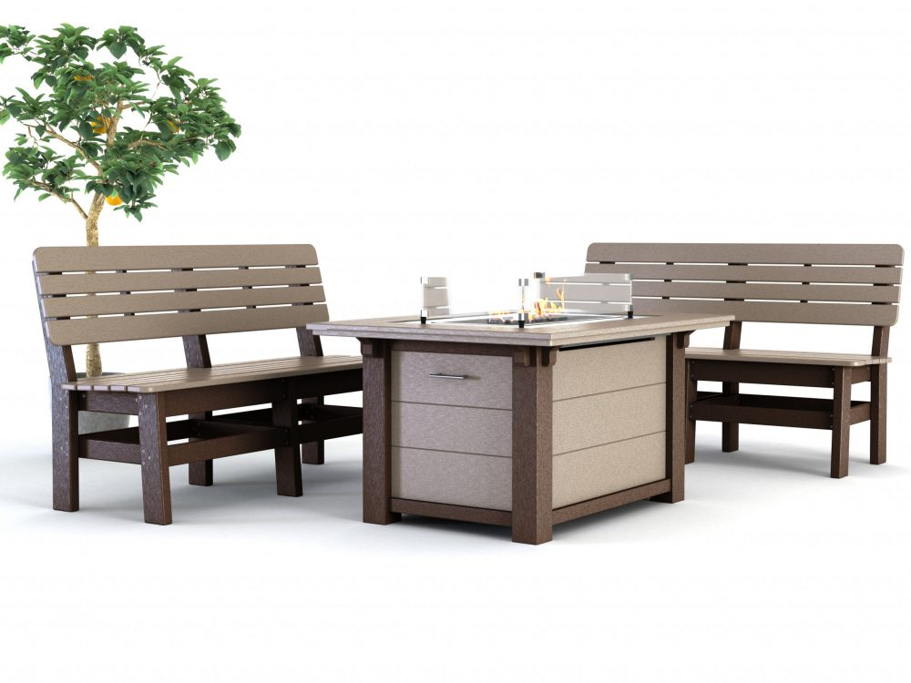 Country Benches Rectangular Fire Table
