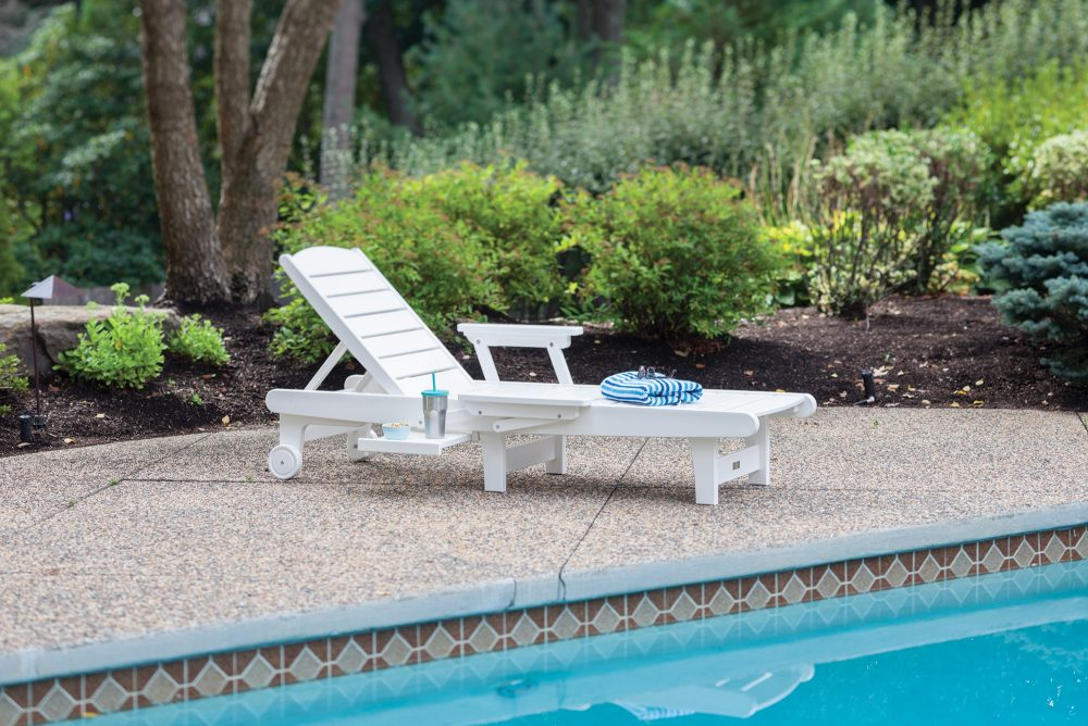 Delray Chaise Lounge white plastic with arm kit and shelf