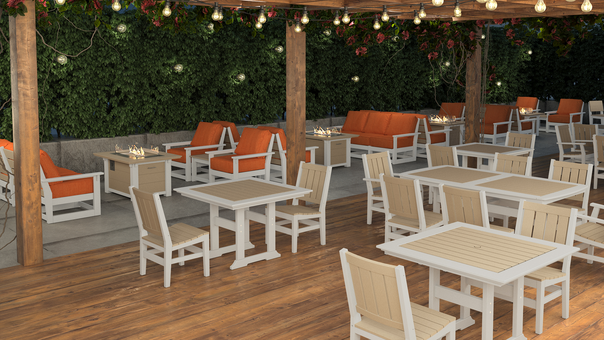 Bristol Dining Tables with Milano Side Chairs, Hudson Deep Seating and Rectangular Fire Tables