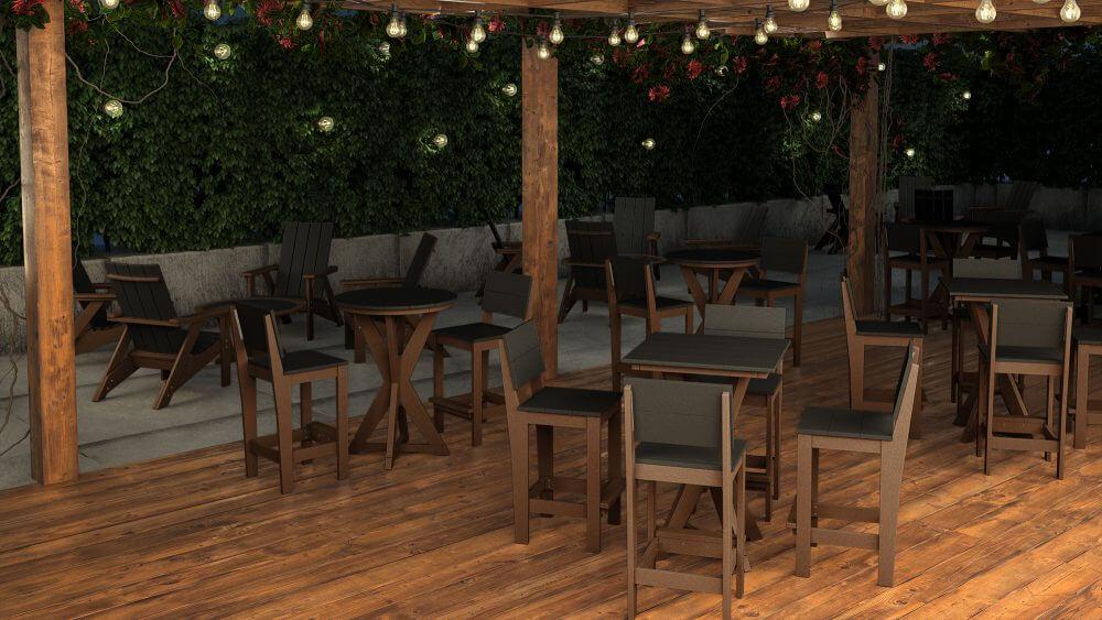 Hudson Bar Table with Side Bar Chairs, Summit Adirondack Chairs, Laguna Conversation Tables