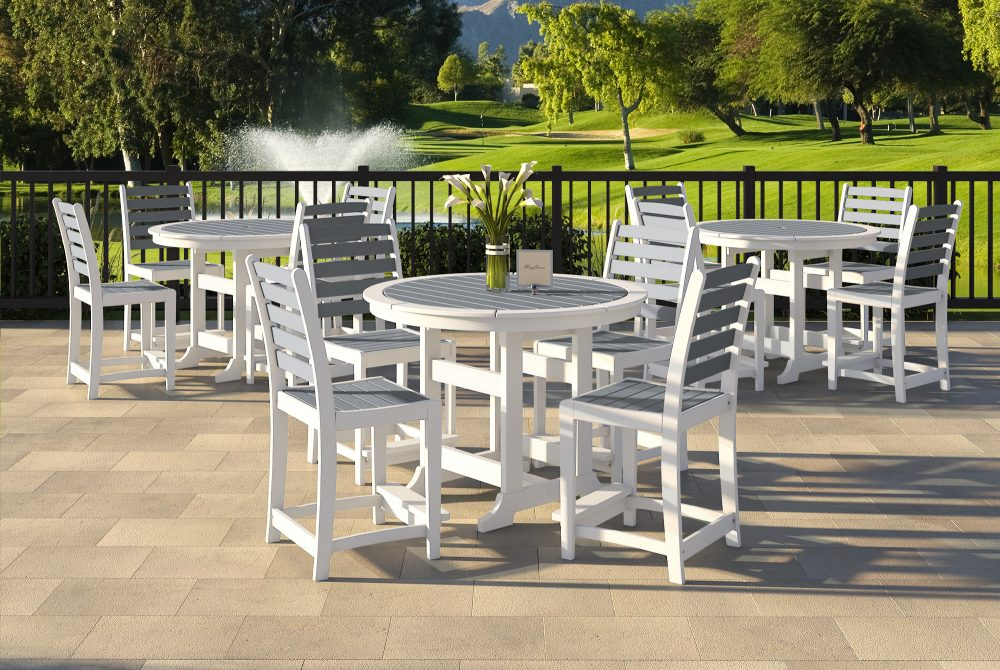 Laguna Dining Tables with Maywood Dining Chairs | golf course patio