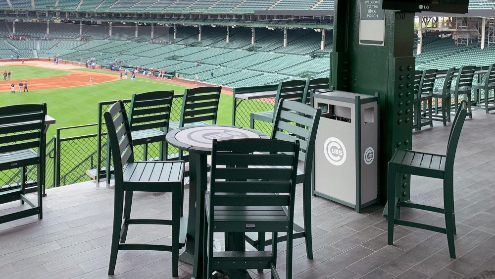 Laguna Bar Tables with Maywood Side Bar Chairs at Wrigley Field