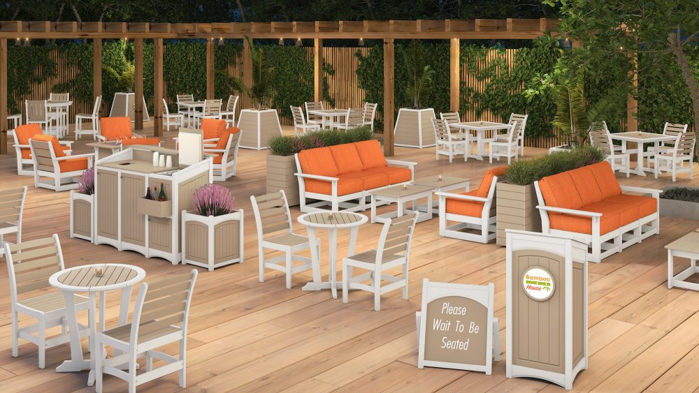 Laguna Dining Tables with Maywood Side Chairs, Hudson Modular Deep Seating