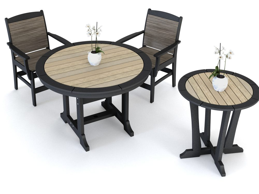 Laguna Dining Table with Maywood Sling Side Chairs