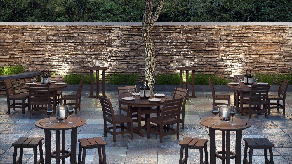 Laguna Dining Tables, Maywood Side Chairs | Laguna Bar Tables with Bar Stools