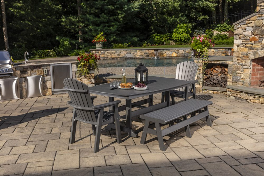 Napa Dining Table, Newport Bench, Hyannis Dining Chairs