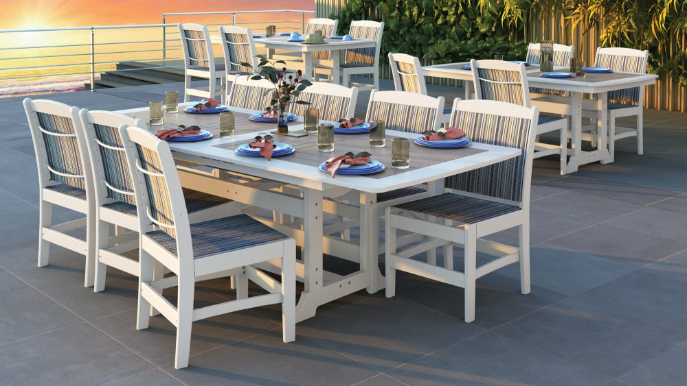 Napa Dining Tables, Maywood Sling Side Chairs
