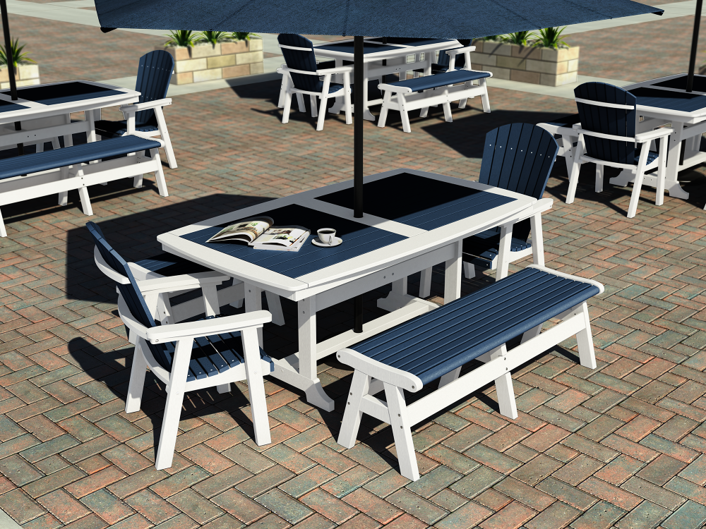 Napa Dining Tables with Newport Bench, Hyannis Dining Chairs