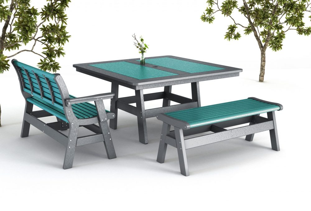 Newport Dining Table with Backless Bench | Bench with Back + Arms