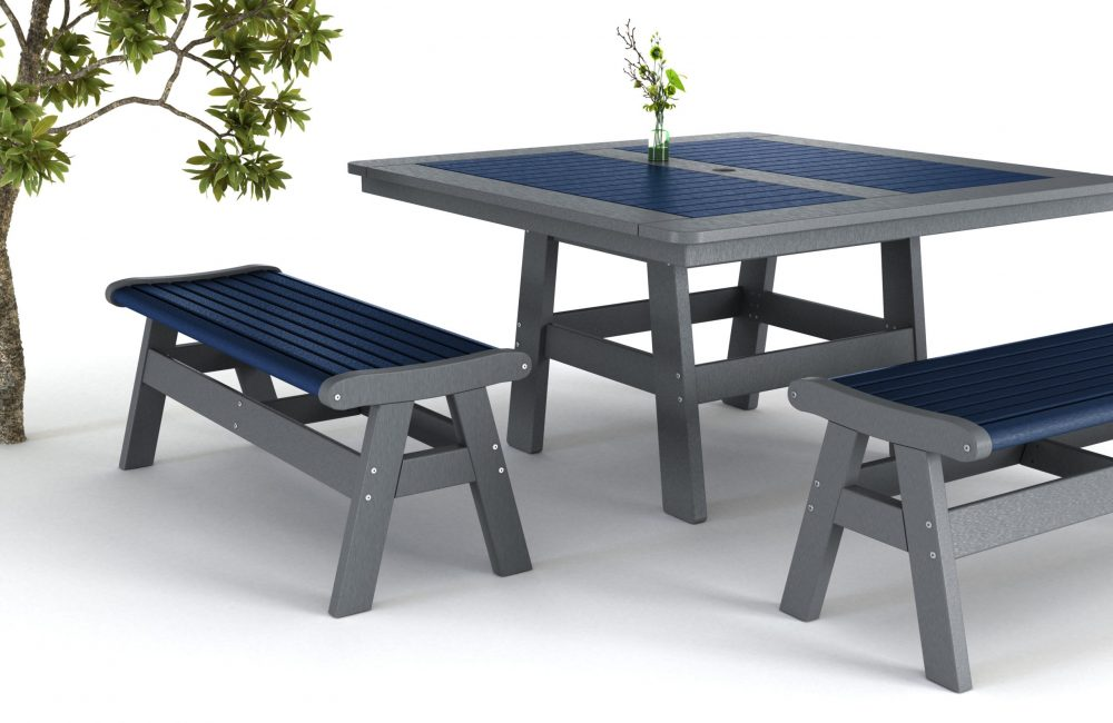 Newport Dining Table with Backless Benches