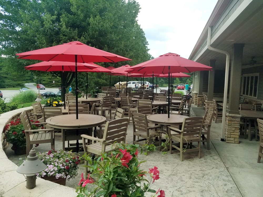 Laguna Dining Tabes with Maywood Dining Chairs, with Umbrellas